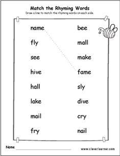 Number Words Worksheets, Rhyming Worksheet, Matching Worksheets, Spelling Worksheets, Printable Worksheets, Kids Worksheets, Rhyming Words For Kids, Rhyming Preschool, Grammar For Kids