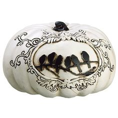 4'Hx6.5'W Artificial Crow Pumpkin -White/Black (pack of 4) * Visit the image link more details.