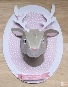 Créer un trophée animal en papier pour Noël Paper Crafts For Kids, Diy Paper, Diy For Kids, Diy And Crafts, Simple Christmas Cards, Christmas Deco, Christmas Crafts, Baby Deco, Diy Bebe