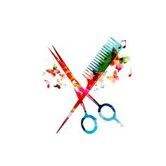 Colorful comb and scissors design Hairstylist Tattoos, Hairstylist Quotes, Cosmetology Tattoos, Hairdresser Tattoos, Hair Salon Logos, Kids Salon, Scissors Design, Salon Art, Business Hairstyles