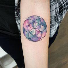 Geometric watercolour flower of life. #jemkatattooart @tora_sumi…