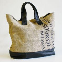 repurposed vintage leather and coffee bean bag burlap tote bag // reMade USA by Shannon South Burlap Coffee Bags, Burlap Tote, Hessian, Leather Bean Bag, Leather Bags, Coffee Bean Sacks, Sacs Tote Bags, Diy Sac, Jute Bags