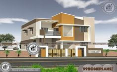 Simple Modern House with Front Elevation Design Front Elevation Designs, House Elevation, Simple House Design, House Front Design, House Plans With Photos, Small House Plans, 1000 Sq Ft House, House With Balcony, Double Storey House