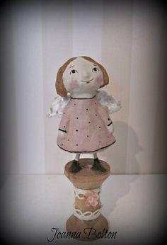 Fleur rose poupée de bobine fée ooak doll folk art papier mâché