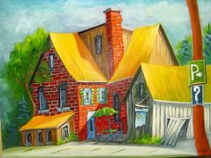 yellow roof - Guy Morest Roof Paint, Art Houses, Storybook Cottage, Z Arts, Naive Art, Canadian Artists, Easy Paintings, Various Artists, House Painting