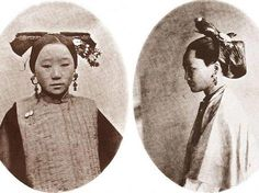 """Manchu married women would arrange their hair into a bun, with a silver Bianfang (an ornamental stick) thrust in it, called """"Gaoliangtou"""" (sorghum-shaped hairstyle). The most typical one is the """"Liangbatou"""": tying the hair on the top of the head, plaiting it into a shape of swallowtail, letting the long hair hang on the back neck, and putting a fan-shaped hair coronet on it. This hairstyle is called """"Qitou"""" (hair of the Manchu nobility) or """"Jingtou"""" (hair of the capital)."""