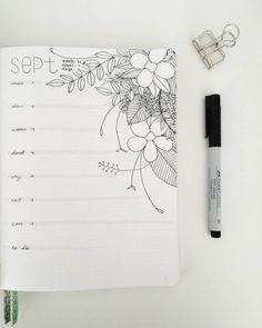 Bullet journal weekly layout, floral drawing, weekly task list. @lotuslettering