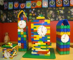 hoge torens met klokken Wolf, Rock Around The Clock, Block Center, Conte, Alice In Wonderland, Habitats, Lego, Seasons, School