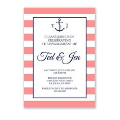 Monogrammed Anchor and Stripe Party Invitations by ShorelyChic, $28.50 #engagement #wedding #anchor #stripes #paper #invitations