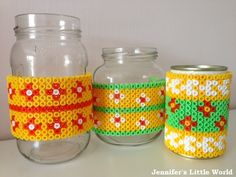 DIY Hama bead covered pen holders from jam jars  by Jennifer Jain  - Using Hama beads to cover a jam jar to make cool desk storage