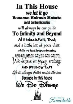 """In This House We Do Disney - Vinyl Wall Decal Sticker - Made in USA - Disney Family House Rules (11"""" x 22""""), Black)"""