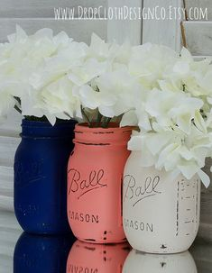 Coral Navy Cream Painted & Distressed Mason by dropclothdesignco