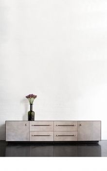Beautiful leather wrapped dresser.  Feels Sonoma but with a chic twist.