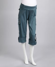 Love this Ocean Side-Tie Cropped Maternity Cargo Pants by Juliet Dream on #zulily! #zulilyfinds