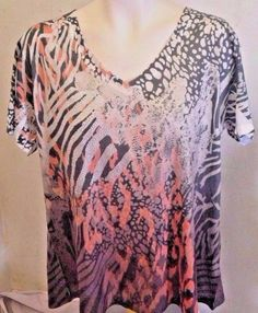 KIARA MULTI COLOR EMBELLISHED ANIMAL PRINT SHORT SLEEVE TOP WOMENS SIZE XXL  #Kiara #KnitTop #Casual