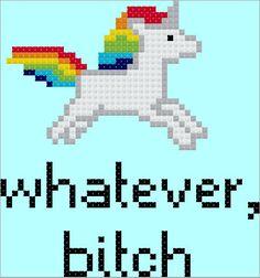 Whatever, Bitch Unicorn Cross Stitch Pattern