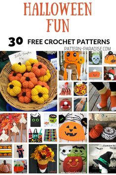 Crochet Patterns For Kids Halloween and Pumpkin Crochet Patterns Crochet Baby Halloween, Halloween Crochet Patterns, Halloween Toys, Crotchet Patterns, Halloween Ornaments, Halloween Crafts For Kids, Holidays Halloween, Fall Crafts, Holiday Crafts