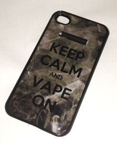 Keep Calm and Vape On iPhone 4 4S BLACK case by YourPhoneCase101, $10.49