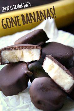 Frozen banana bites covered in thick rich dark chocolate --- the banana tastes just like ice cream!