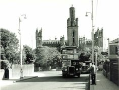 bus in the background travelling from Sallynoggin on route to Dublin. Church Of Ireland, Dublin Ireland, Photo Engraving, Dublin City, Buses, Old Photos, Trains, 1970s, Travelling