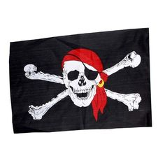 """PIRATE FLAG /""""PIRATE GIRL/"""" 12/"""" X 18/"""" Novelty Boat Nylon Print Dyed Sailing Deck"""