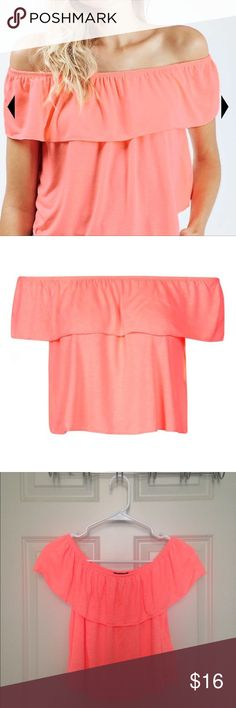 NWT Topshop Coral off the shoulder top Perky coral colored off-the-shoulder top. New and never worn. Perfect for summer! Let me know if you're interested- I can create a custom listing for you and get you discounted shipping. Topshop Tops