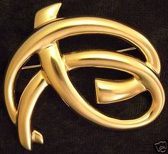 Signed Goldtone PISCITELLI Brooch Pin