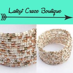Bohemian Bead Cuff White and Gold colored beads strung together to make a cuff that is one size fits most. BRAND NEW! Latest Craze Boutique Jewelry
