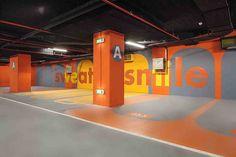 Underground parking for Stejarii Country Club. Signage Board, Park Signage, Wayfinding Signage, Parking Design, Signage Design, Car Parking, Parking Lot, Floor Graphics, Buch Design