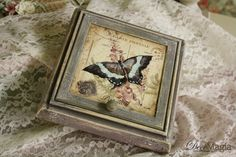 Wooden jewelerry box with decoupage and shabby chic/Ξύλινη κοσμηματοθήκη με ντεκουπάζ και shabby chic