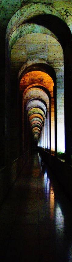 palace, hallway, arches, colorful, outdoors