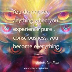 "Read more at www.corespirit.com ""You do not see anything when you experience pure consciousness; you become everything"" — Sebastian Pole"
