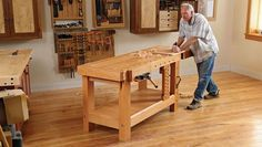 How To Build A Heavy Duty Workbench with Fine Woodworking Making A Workbench, Garage Workbench Plans, Building A Workbench, Workbench Designs, Craftsman Workbench, Mobile Workbench, Workbench Ideas, Woodworking Power Tools, Woodworking Bench Plans
