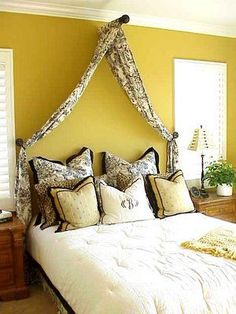 Eventually we will redo the guest bedroom. This is a great low budget alternative to a bedroom set/frame. Get shabby chic furniture and you got a look!