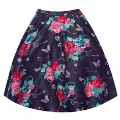 'Pepper' Charming Print Purple Full Circle Skirt - from Lindy Bop UK