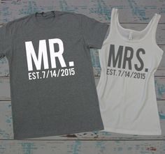 MR and MRS tee shirt and tank top set. Honeymoon shirts. Just Married shirts. Wedding tank and tee. Bride and Groom shirts. by BrideAndEntourage on Etsy https://www.etsy.com/listing/220836317/mr-and-mrs-tee-shirt-and-tank-top-set