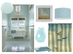 Coastal inspired bathroom in light blue with a hint of sand!