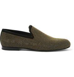Jimmy Choo Sloane Studded Suede Slippers | MR PORTER