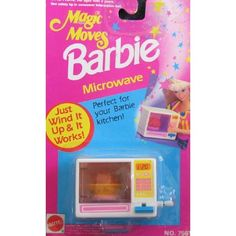 Amazon.com: Barbie Magic Moves MICROWAVE Wind It & It Works! Perfect For Barbie Kitchen! (1992 Arcotoys, Mattel): Toys & Games