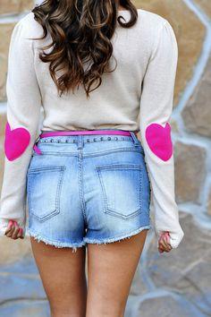 Bottom Of My Heart Sweater: Hot Pink
