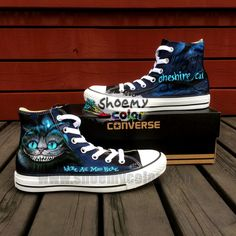 Custom Cute Cheshire Cat Alice's Adventure in Wonderland Pure Hand Painted Black High Top Converse Canvas Shoes for Women Men
