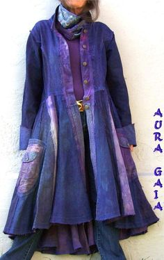 AuraGaia ~ IndigoPurple traveling coat duster in denims,,,upcycled, overdyed…