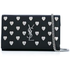 Saint Laurent 'Monogram' Chain Wallet ($1,650) ❤ liked on Polyvore featuring bags, wallets, black, monogrammed leather wallet, studded leather wallet, strap wallet, genuine leather wallet and leather snap wallet