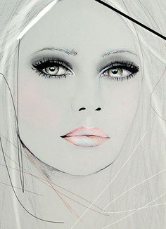 Neva 2  Fashion Illustration Portrait Art Print by by LeighViner