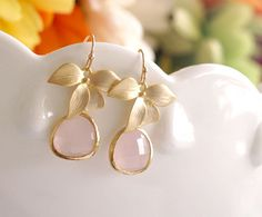 Bridesmaid Earrings  Pink Drop Earrings with Flower by FiveThirty, $23.00...these and the necklaces to match are gorgeous!!