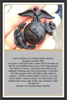 """I'm a Marine Mom! Just as """"once a Marine, always a Marine"""", so goes it with the Marine Mom. Marine Tattoo, Marine Mom Quotes, Usmc Quotes, Military Quotes, Quotes Quotes, Marine Corps Quotes, Qoutes, Crush Quotes, Motivational Quotes"""