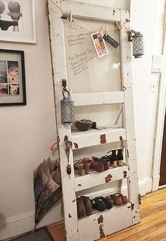 25 Unexpected And Smart Ways To Organize Your Shoes - Styles & Decor Shoe Storage, Storage Shelves, Shelving, Reclaimed Doors, Rustic Doors, Door Shelves, Home Organization, Organizing Ideas, Upcycled Furniture