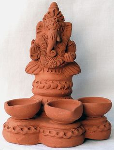 Lord Ganesha with Lamps (Terracotta)
