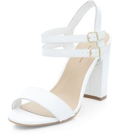 34cad121dd54 Wide Fit White Leather Double Ankle Strap Block Heels Ankle Strap Block Heel