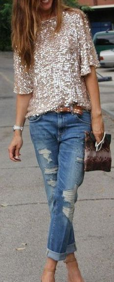 Sparkle Jeans and Distressed Denim